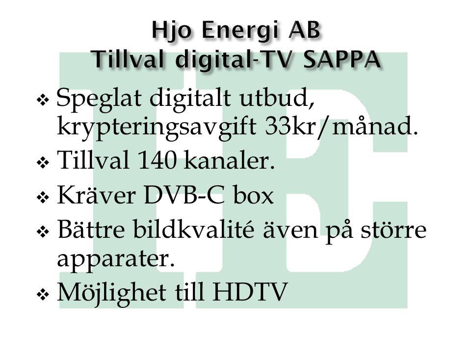 Hjo Energi AB Tillval digital-TV SAPPA