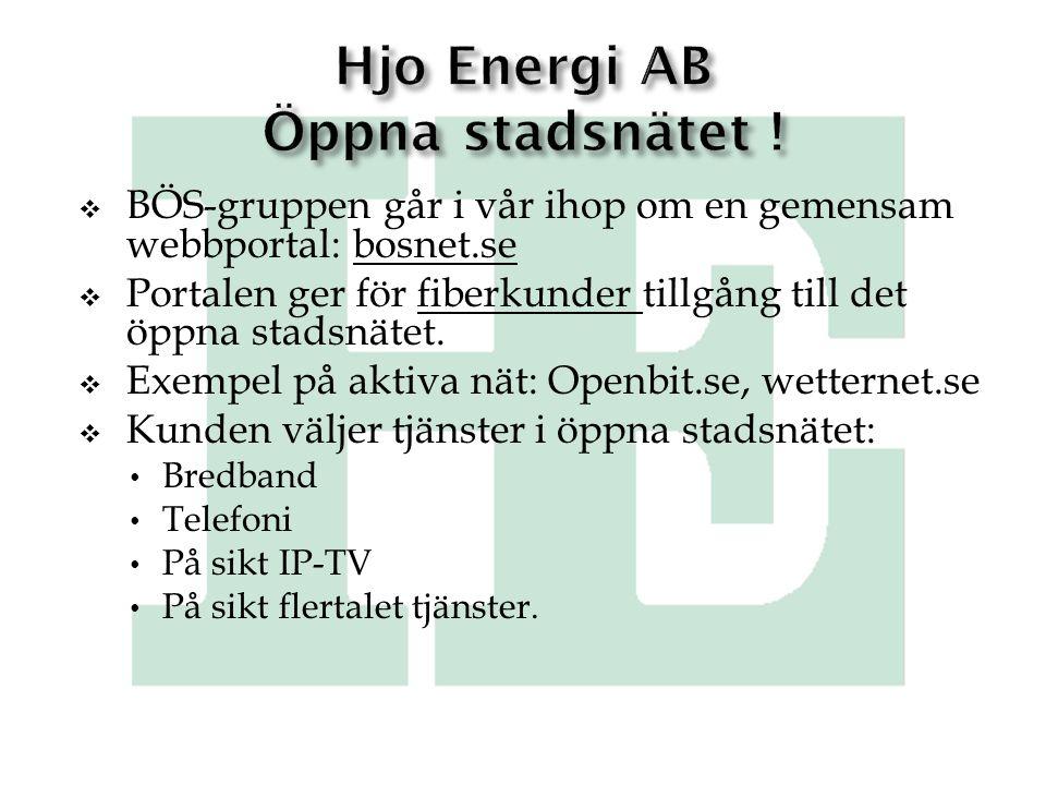 Hjo Energi AB Öppna stadsnätet !