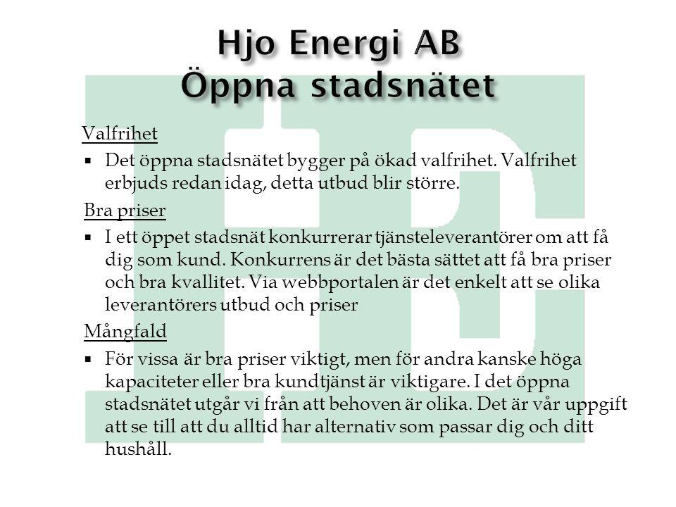 Hjo Energi AB Öppna stadsnätet