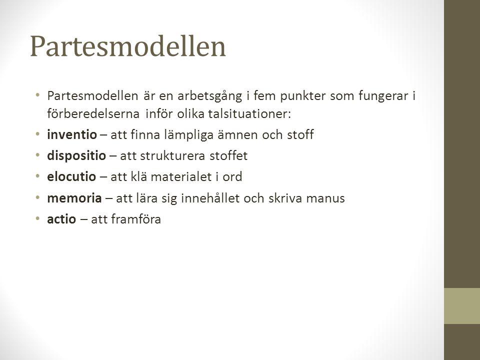 Partesmodellen Partesmodellen är en arbetsgång i fem punkter som fungerar i förberedelserna inför olika talsituationer: