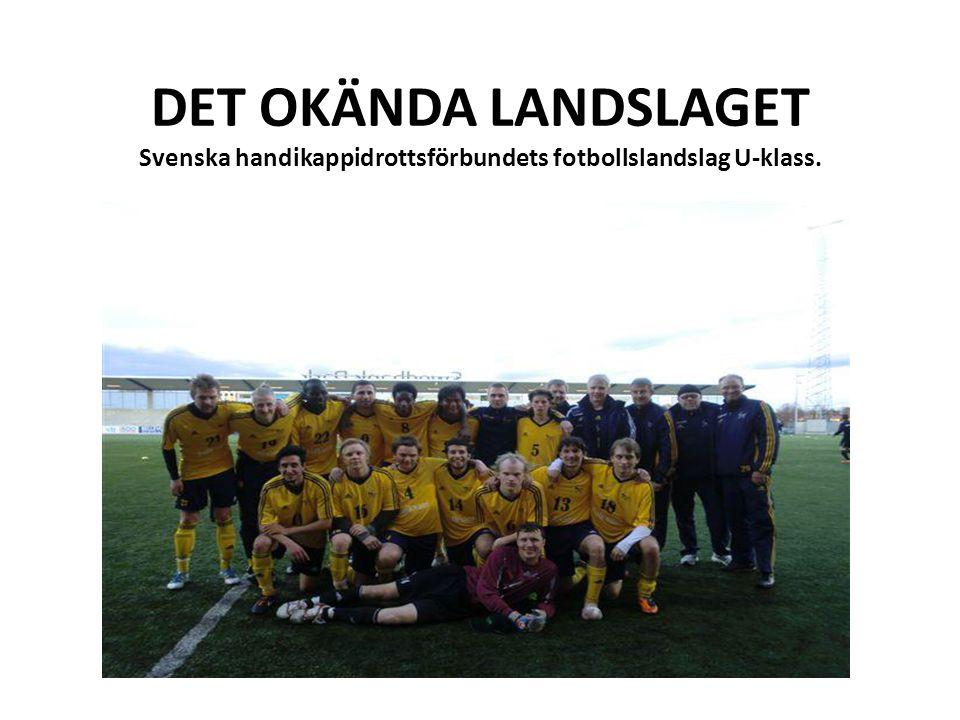 DET OKÄNDA LANDSLAGET Svenska handikappidrottsförbundets fotbollslandslag U-klass.