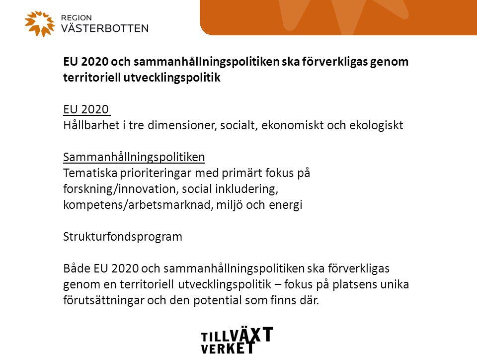 EU 2020 och sammanhållningspolitiken ska förverkligas genom territoriell utvecklingspolitik