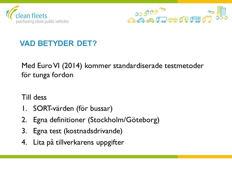 Vad Betyder det Med Euro VI (2014) kommer standardiserade testmetoder för tunga fordon. Till dess.