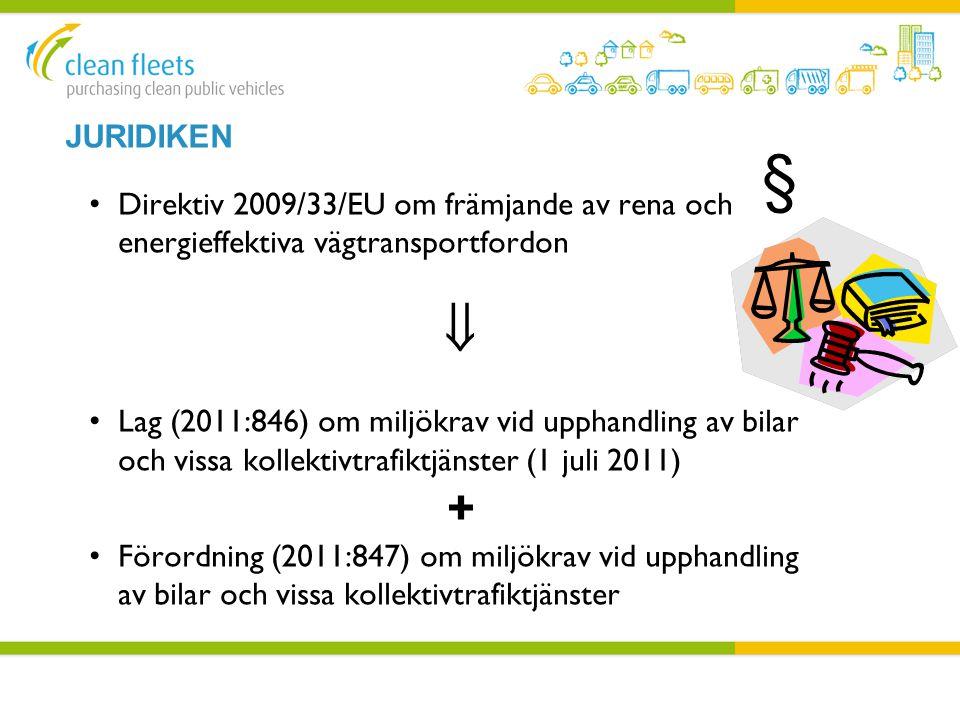 Juridiken § Direktiv 2009/33/EU om främjande av rena och energieffektiva vägtransportfordon. 