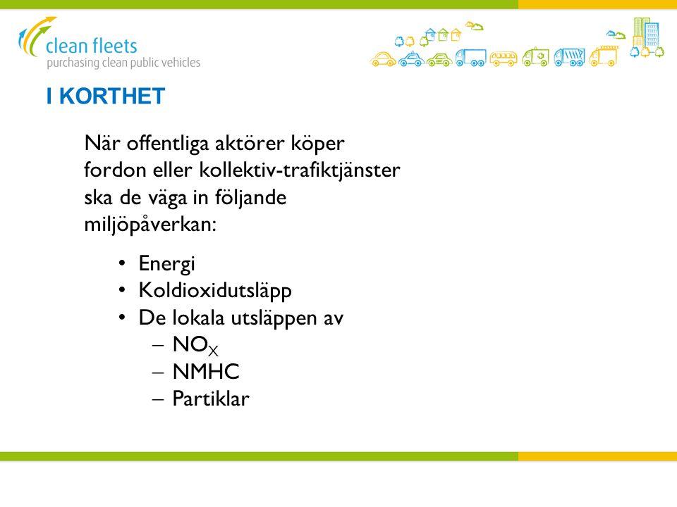 I Korthet När offentliga aktörer köper fordon eller kollektiv-trafiktjänster ska de väga in följande miljöpåverkan: