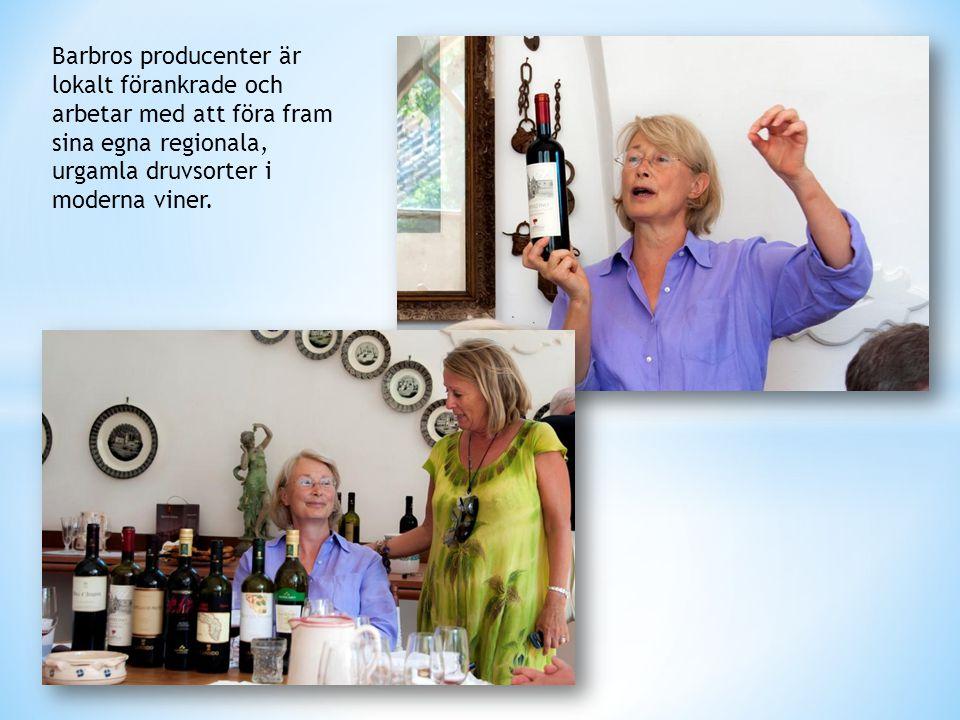 Barbros producenter är lokalt förankrade och arbetar med att föra fram sina egna regionala, urgamla druvsorter i moderna viner.
