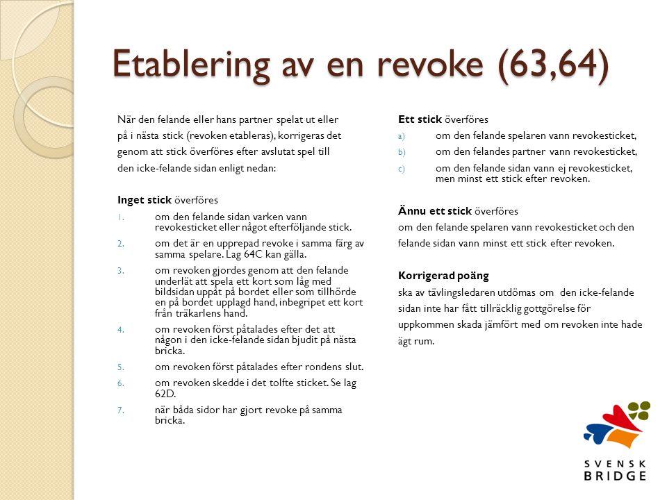 Etablering av en revoke (63,64)