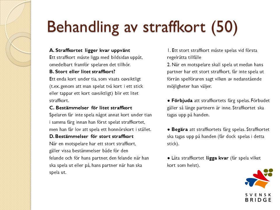 Behandling av straffkort (50)