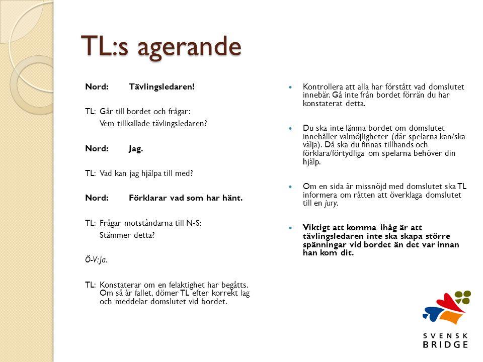 TL:s agerande Nord: Tävlingsledaren! TL: Går till bordet och frågar: