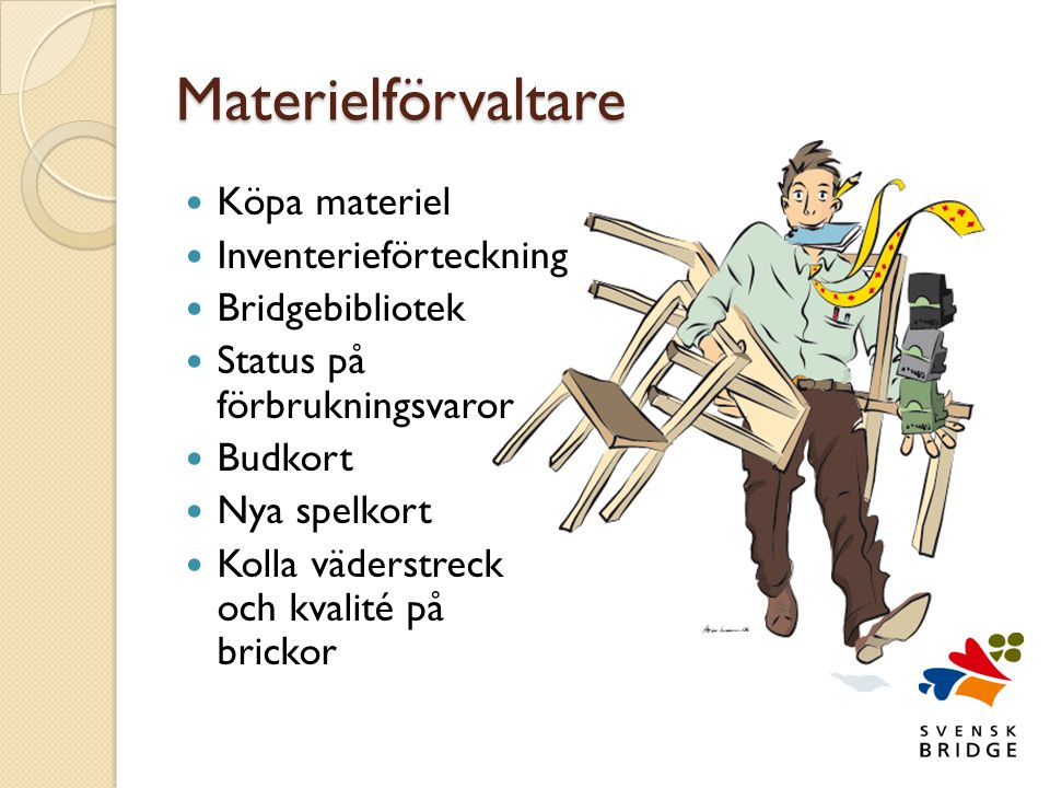 Materielförvaltare Köpa materiel Inventerieförteckning Bridgebibliotek