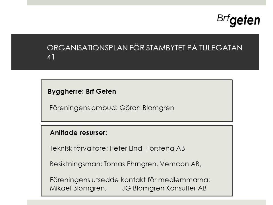ORGANISATIONSPLAN FÖR STAMBYTET PÅ TULEGATAN 41