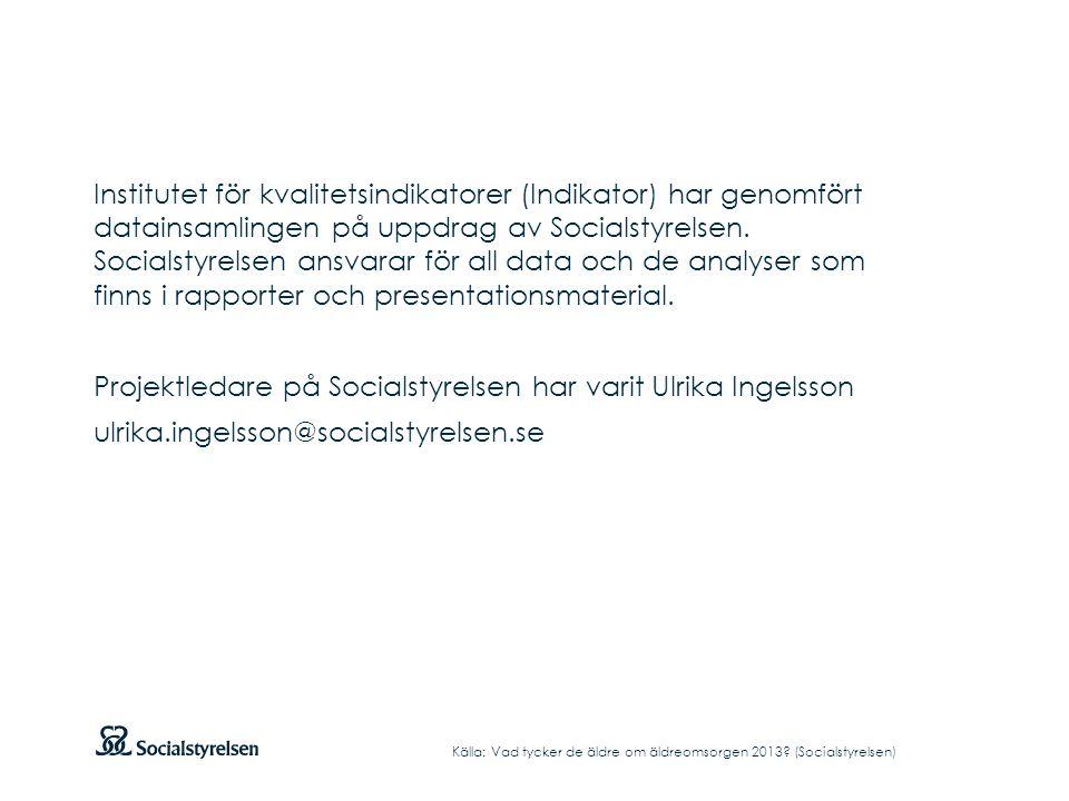 Institutet för kvalitetsindikatorer (Indikator) har genomfört datainsamlingen på uppdrag av Socialstyrelsen. Socialstyrelsen ansvarar för all data och de analyser som finns i rapporter och presentationsmaterial. Projektledare på Socialstyrelsen har varit Ulrika Ingelsson ulrika.ingelsson@socialstyrelsen.se