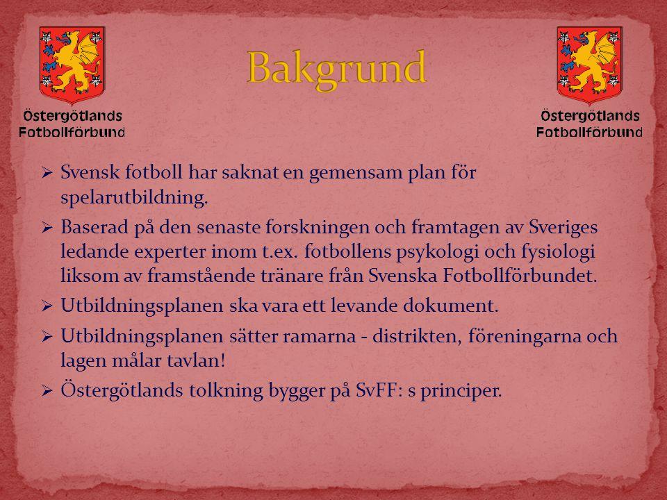 Bakgrund Svensk fotboll har saknat en gemensam plan för spelarutbildning.