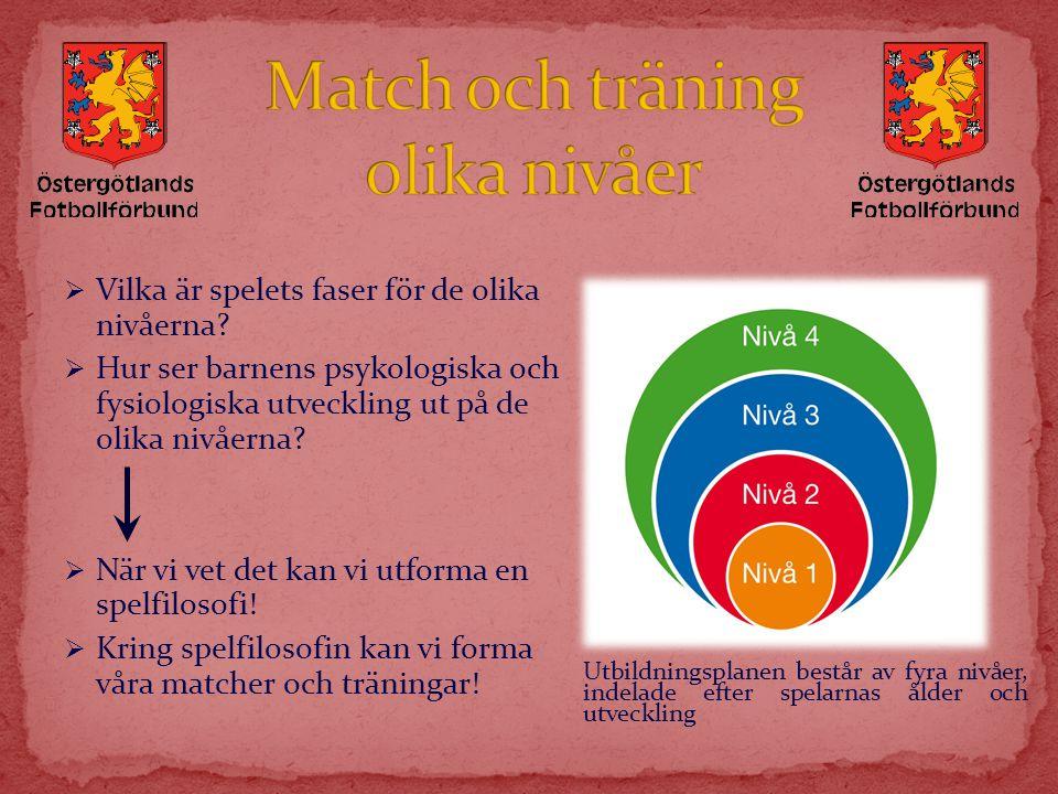 Match och träning olika nivåer