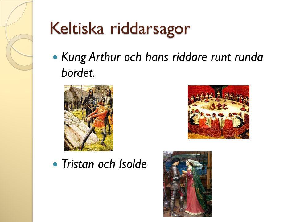 Keltiska riddarsagor Kung Arthur och hans riddare runt runda bordet.