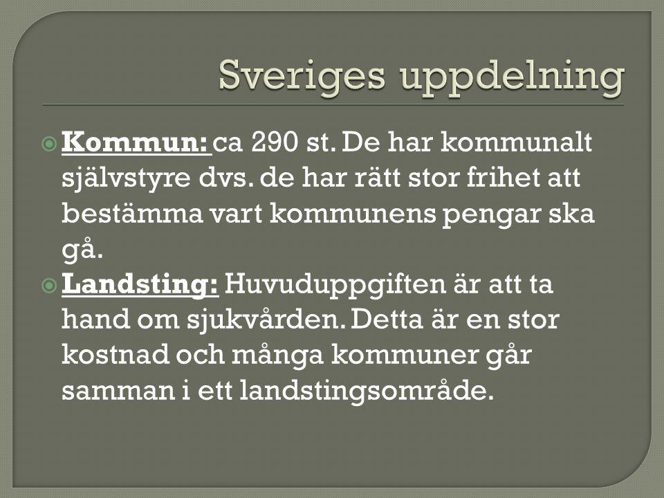 Sveriges uppdelning Kommun: ca 290 st. De har kommunalt självstyre dvs. de har rätt stor frihet att bestämma vart kommunens pengar ska gå.