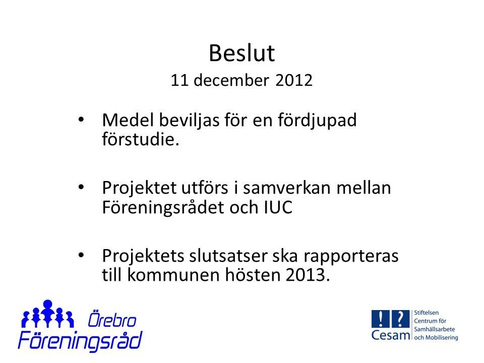 Beslut 11 december 2012 Medel beviljas för en fördjupad förstudie.