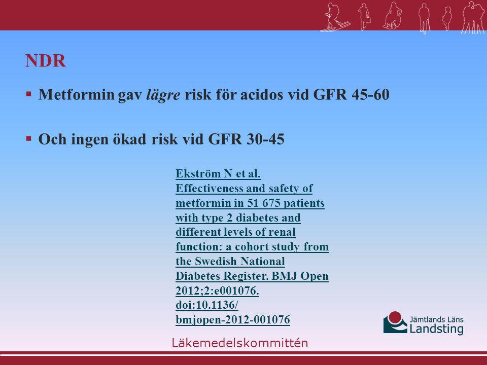 NDR Metformin gav lägre risk för acidos vid GFR 45-60