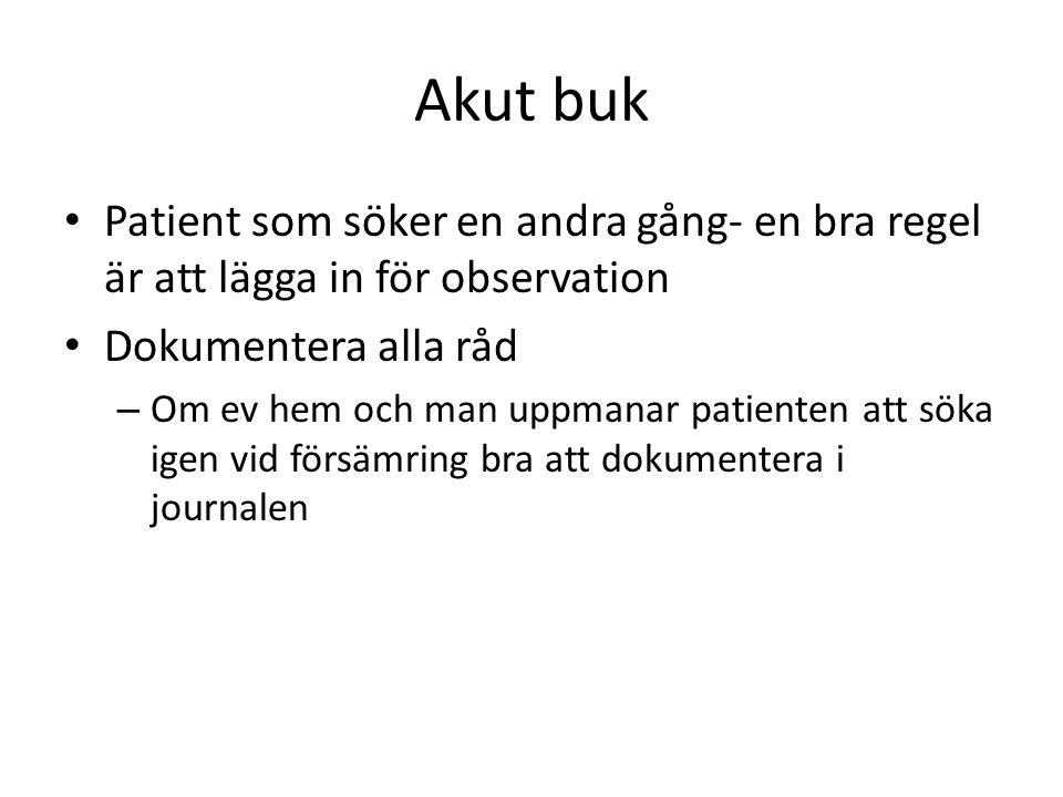 Akut buk Patient som söker en andra gång- en bra regel är att lägga in för observation. Dokumentera alla råd.