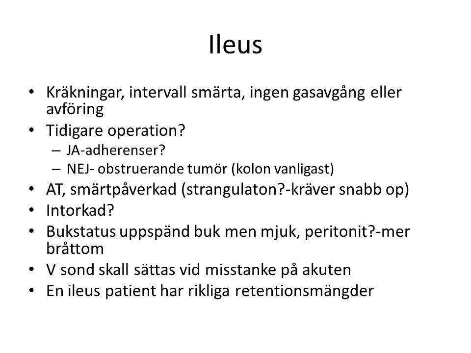 Ileus Kräkningar, intervall smärta, ingen gasavgång eller avföring