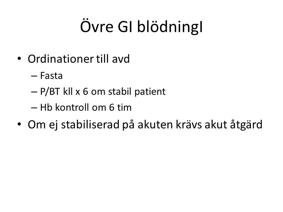 Övre GI blödningI Ordinationer till avd