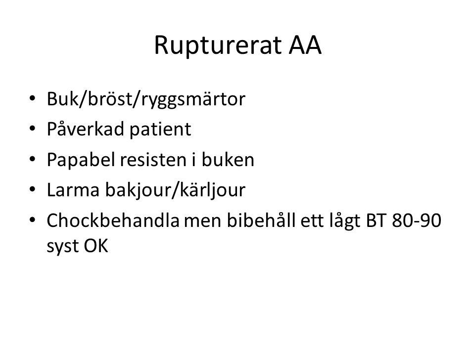 Rupturerat AA Buk/bröst/ryggsmärtor Påverkad patient