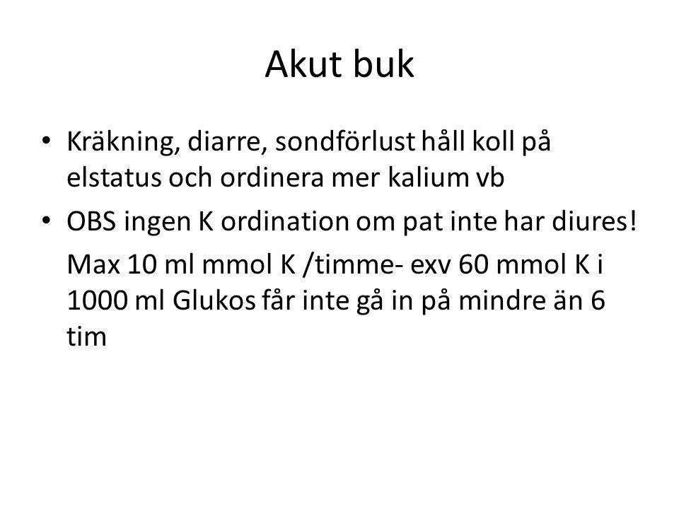 Akut buk Kräkning, diarre, sondförlust håll koll på elstatus och ordinera mer kalium vb. OBS ingen K ordination om pat inte har diures!
