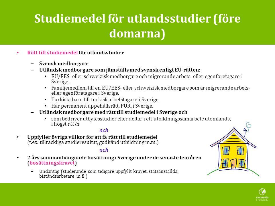 Studiemedel för utlandsstudier (före domarna)