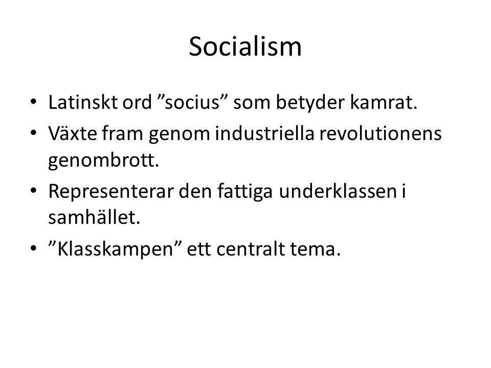 Socialism Latinskt ord socius som betyder kamrat.