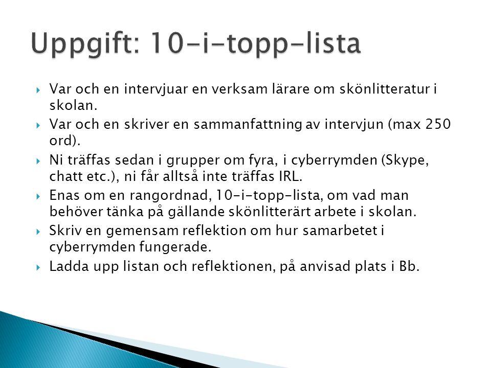 Uppgift: 10-i-topp-lista