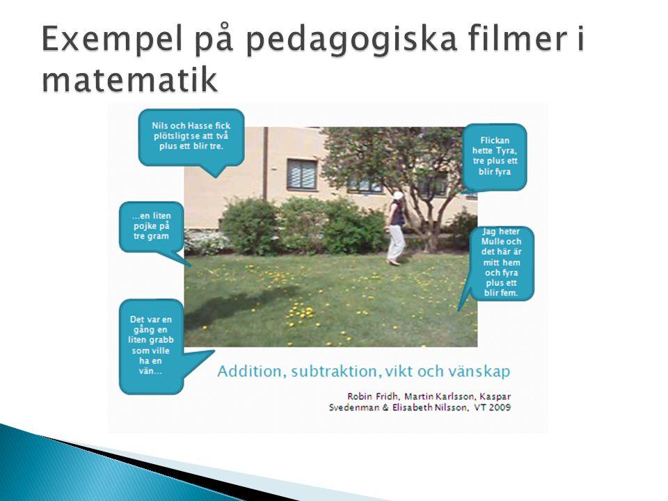 Exempel på pedagogiska filmer i matematik