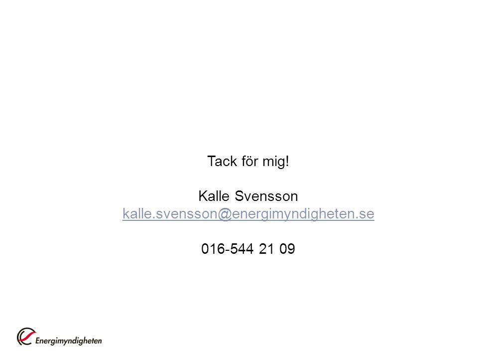 Tack för mig! Kalle Svensson kalle.svensson@energimyndigheten.se 016-544 21 09
