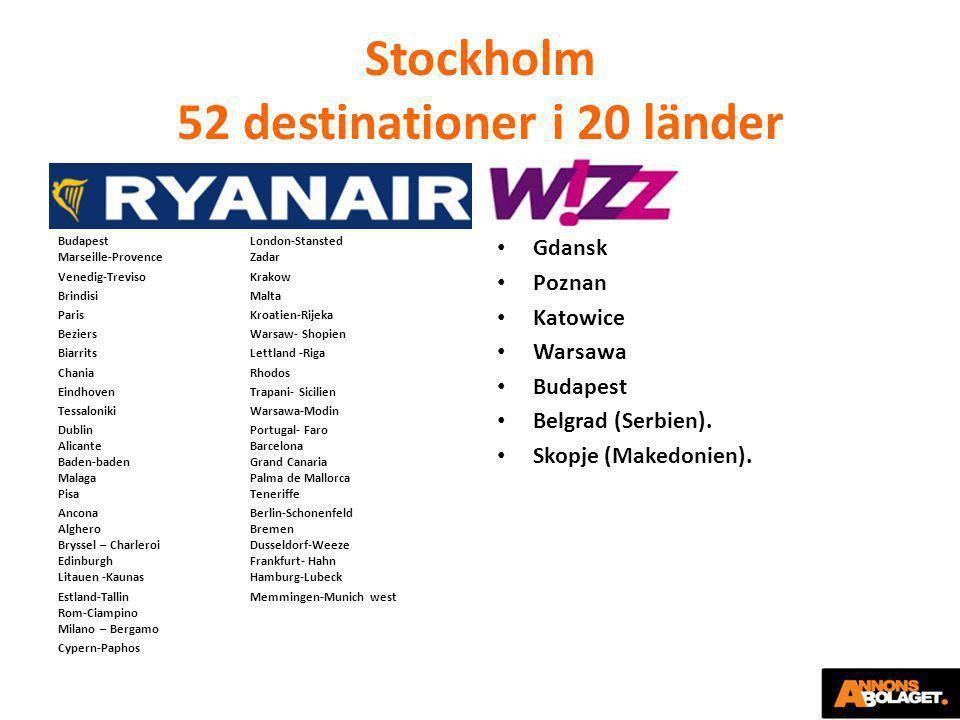 Stockholm 52 destinationer i 20 länder