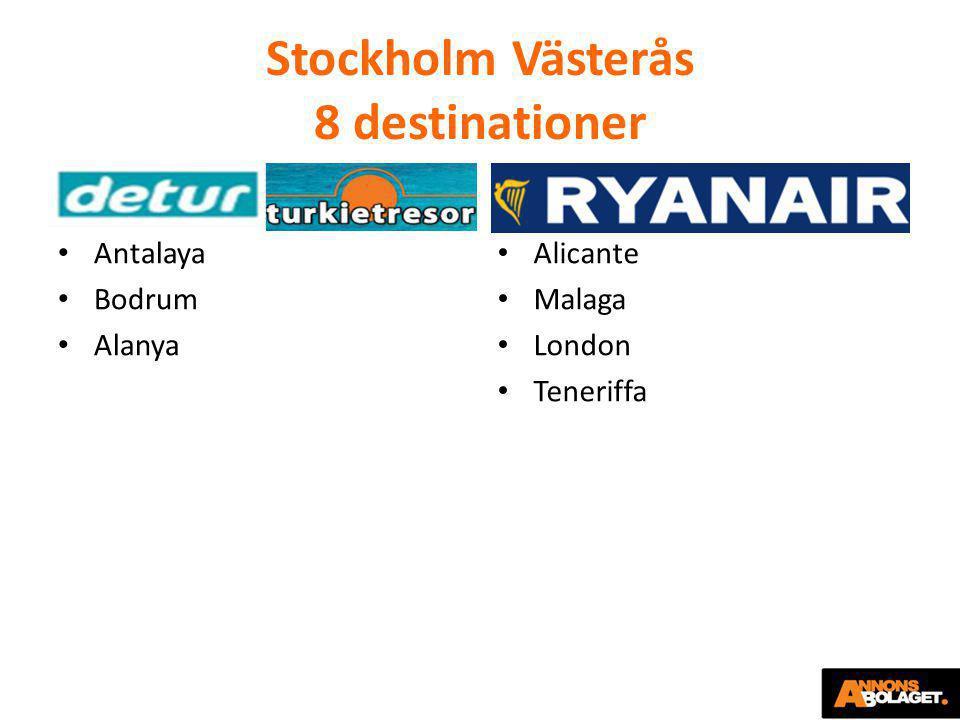Stockholm Västerås 8 destinationer