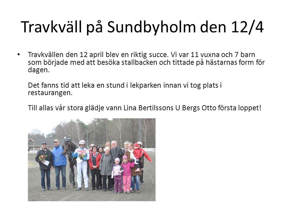 Travkväll på Sundbyholm den 12/4
