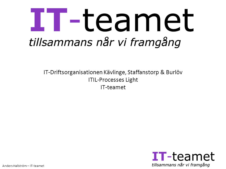 IT-Driftsorganisationen Kävlinge, Staffanstorp & Burlöv ITIL-Processes Light IT-teamet
