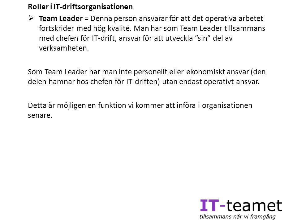 Roller i IT-driftsorganisationen