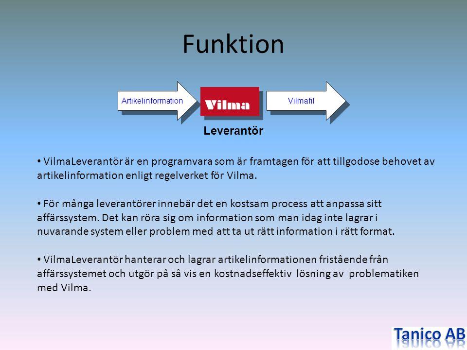 Funktion Artikelinformation. Vilmafil. Leverantör.