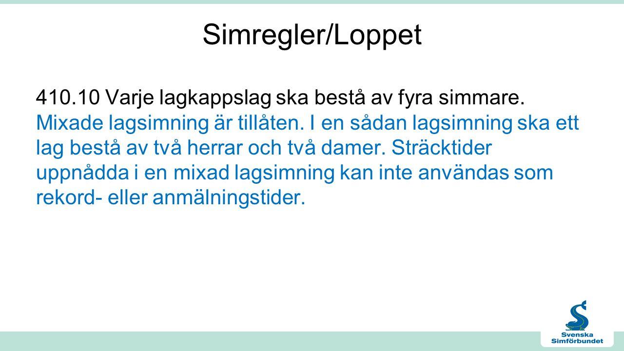 Simregler/Loppet