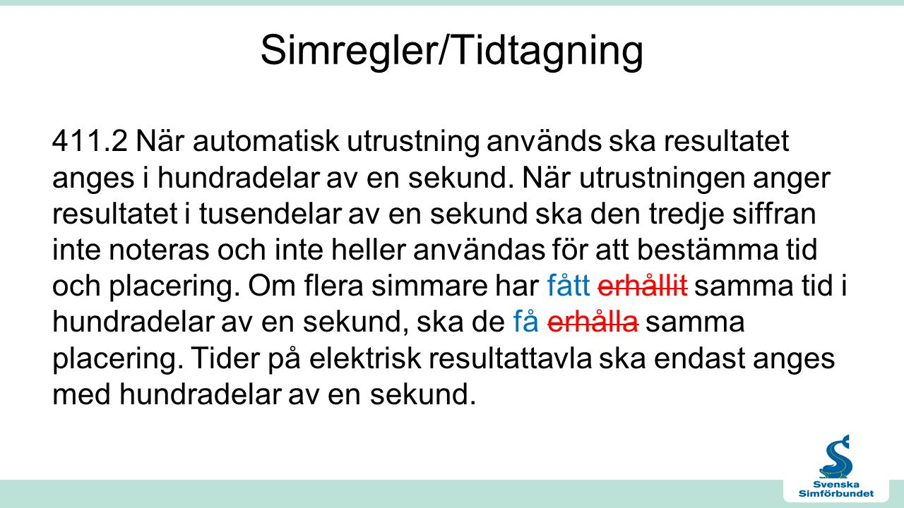 Simregler/Tidtagning