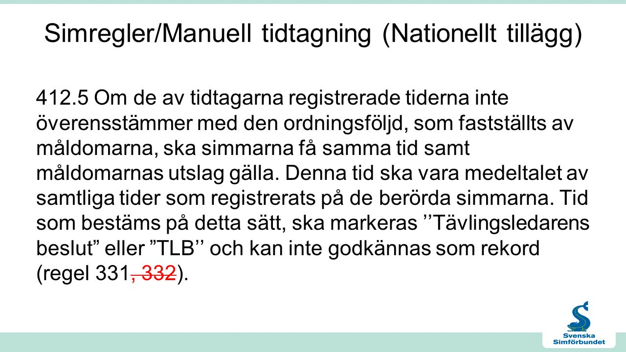 Simregler/Manuell tidtagning (Nationellt tillägg)