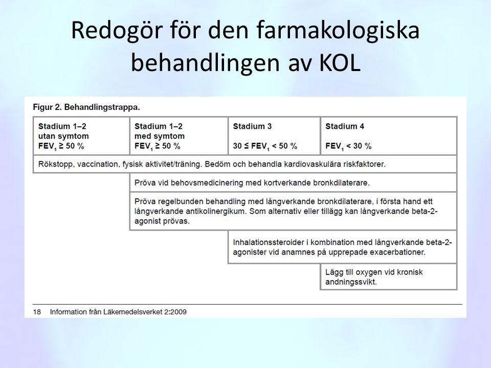Redogör för den farmakologiska behandlingen av KOL