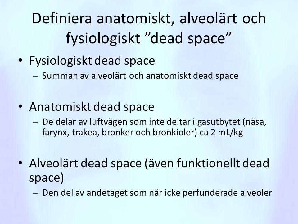 Definiera anatomiskt, alveolärt och fysiologiskt dead space