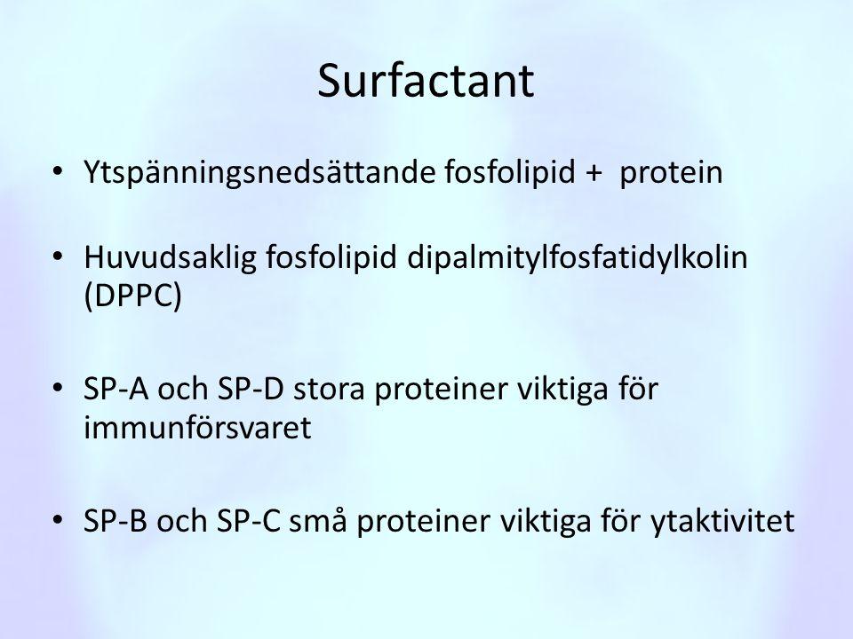 Surfactant Ytspänningsnedsättande fosfolipid + protein
