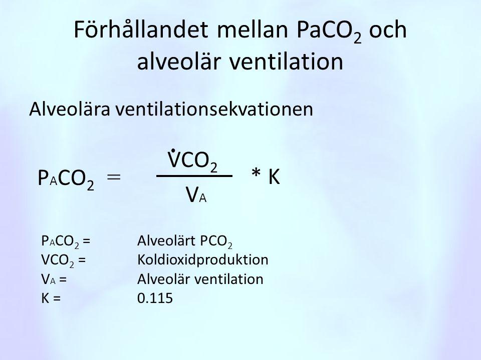 Förhållandet mellan PaCO2 och alveolär ventilation