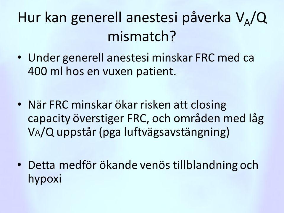 Hur kan generell anestesi påverka VA/Q mismatch