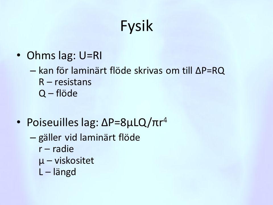 Fysik Ohms lag: U=RI Poiseuilles lag: ΔP=8μLQ/πr4