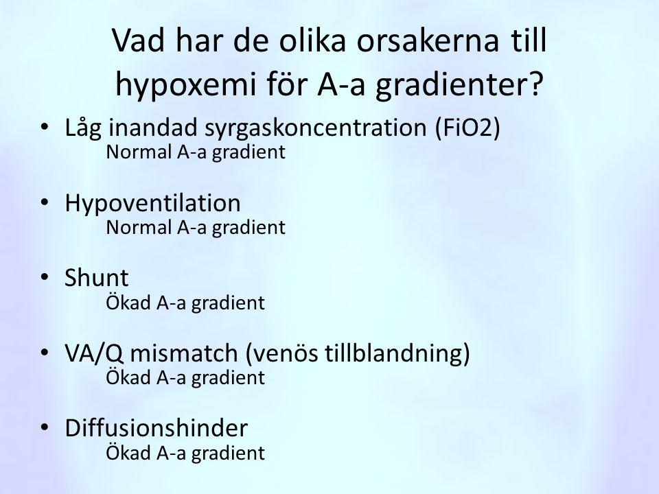 Vad har de olika orsakerna till hypoxemi för A-a gradienter