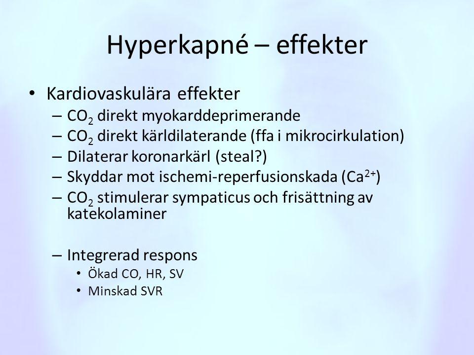Hyperkapné – effekter Kardiovaskulära effekter