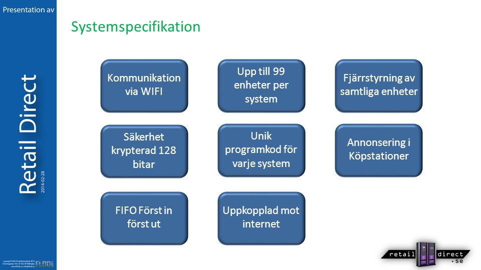 Systemspecifikation Upp till 99 enheter per system